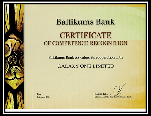 A Good & Long relationship between Galaxy One Limited/ Offshorecompanycorp & Baltikums Bank