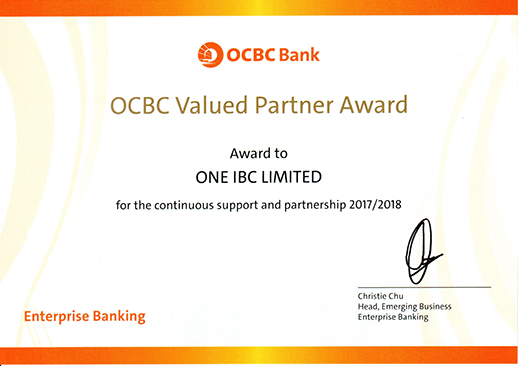 One IBC Awarded Value Partner 2017 - 2018 from OCBC