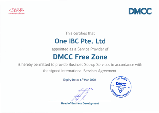 One IBC was granted as a Service Provider  of DMCC Free Zone