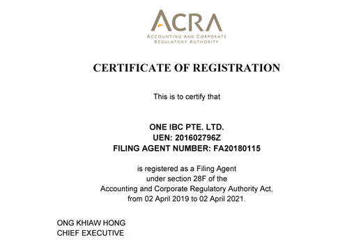One IBC Pte. Ltd - Owning Certificate Corporate Services Provider in Singapore by ACRA 2019 - 2021